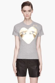 Comme Des Garçons Play  Gold Foil Print T shirt for women