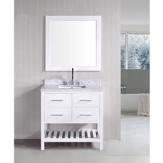 London Pearl White Solid wood 36 inch Transitional Bathroom Vanity Set