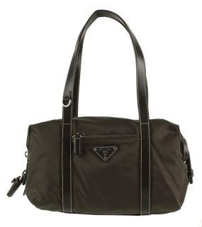 Prada Olive Green Nylon Satchel Handbag