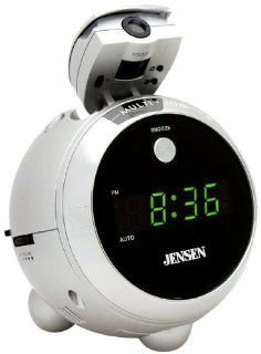 Jensen JCR 222 AM/FM Projection Clock Radio (Silver