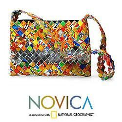 Recycled Metalized Wrapper Eco Fun Small Shoulder Bag (Guatemala