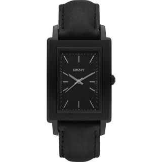 DKNY Mens Black Leather Strap Watch Today $109.99