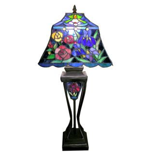 Tiffany style Floral Table Lamp with Lighted Base