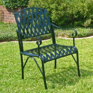 International Caravan Diamond Lattice Iron Verdi Gris Patio Chairs