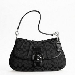 COACH Soho Signature Flap Purse Black F17093 (Black