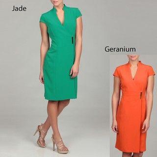 Sandra Darren Womens Crepe Goldtone Clasp Dress