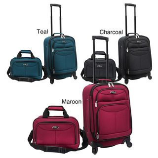 Traveler US3602 Two piece Carry on Spinner Polyester Luggage Set