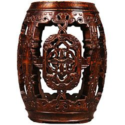 Antique Style Hand carved Barrel End Table