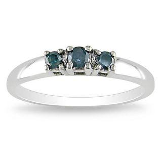 10k White Gold 1/4ct TDW Blue Diamond 3 stone Ring