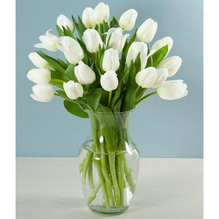 Mothers Day Preorder) 20 White Tulips with Vase