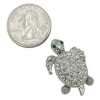Silvertone Crystal Turtle Brooch Pin Jewelry