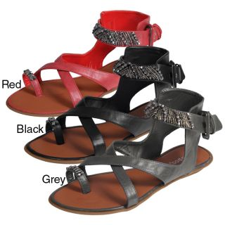 Bamboo by Journee Womens Beaded Strappy Sandals