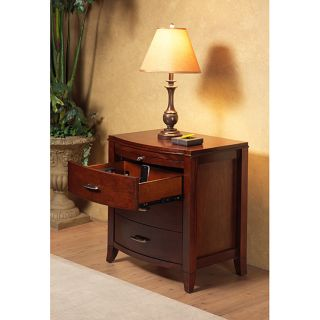 drawer Bow Front Nightstand with Tray and Power Strip