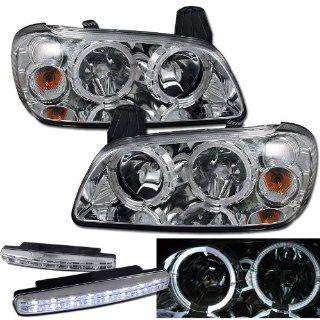 2001 Nissan Maxima Halo Headlights + 8 Led Fog Bumper Light
