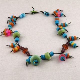 Glass Fiesta Look Beaded Necklace (India)