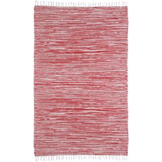 Red Reversible Chenille Flat Weave Rug (4 x 6)