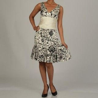 Issue New York Womens Black/ White Printed Cinch Waist Dress