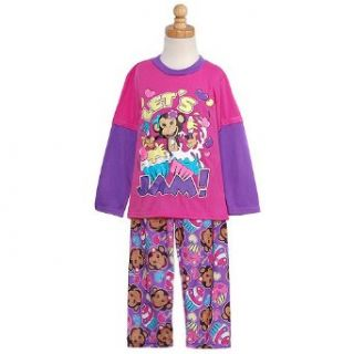 Little Girls Trendy Pink and Purple Monkey Pajamas
