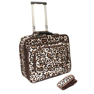 World Traveler Leopard Fashion Print Womens Rolling 17 inch Laptop