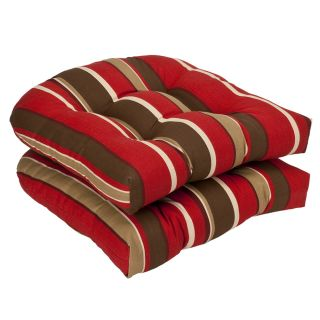 Pillow Perfect Outdoor Red /Brown Floral/ Stripe Toss Pillows (Set of
