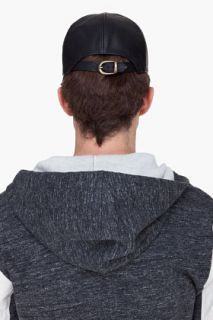 Marc Jacobs Black Contrast Leather Cap for men
