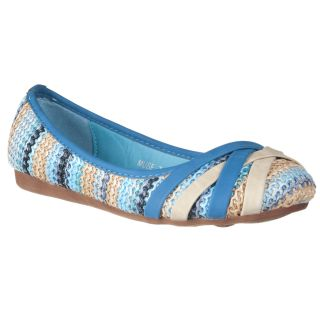 Riverberry Womens Muse Blue Woven Ballet Flats Today $31.69 Sale