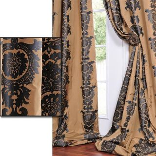 Golden Tan With A Soft Black Print Faux Silk 96 inch Curtain Panel