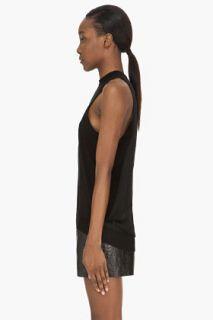 Alexander Wang Black Merino And Silk Foldback Tank Top for women