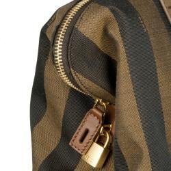 Fendi Tobacco/Navy Blue Canvas/Leather Two Way Shopper Bag