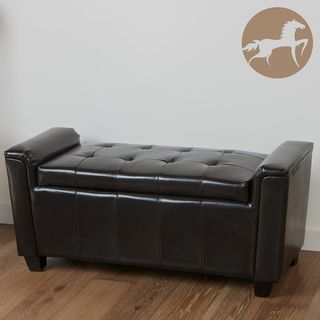 Christopher Knight Home Bosworth Tufted Espresso Leather Storage