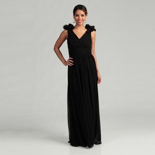 Adrianna Papell Womens Black Rosette Evening Dress