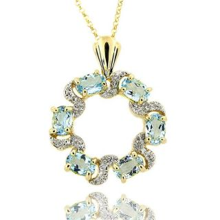 18k Gold over Silver Blue Topaz and Diamond Accent Circle Necklace