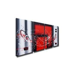 Hand painted Abstract 350 4 piece Gallery wrapped Canvas Art Set