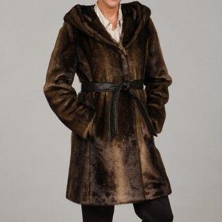 Ellen Tracy Womens Faux mink Belted Hooded Coat FINAL SALE