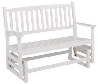 Jack Post UN 100W Union Pier Gliding Bench, White Patio