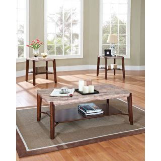 Acme Dark Cherry Faux marble Top Coffee Table Set Today $230.99