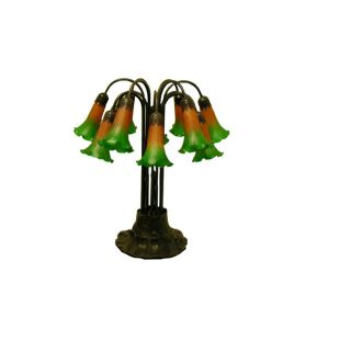 Indoor 12 light Lily Amber/ Green Table Lamp