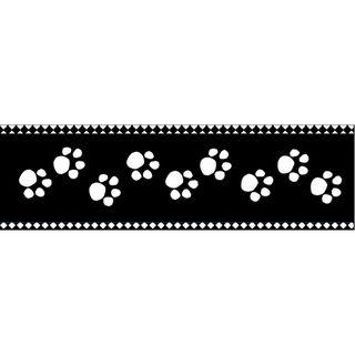 25 yard Paw Prints Black On White Cellotape