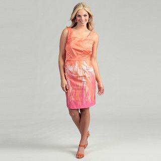 Ceces New York Womens Orange/ Fuchsia Ruched Dress FINAL SALE