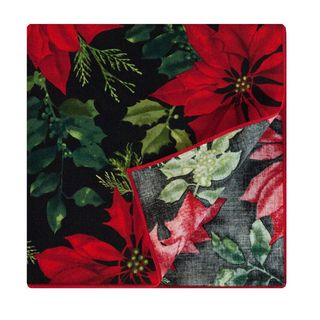 Crimson Placemat by Rose Tree Mistletoe and Holly Napkins (Set of 6