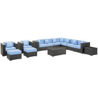 Cohesion Outdoor Rattan 11 piece Set in Espresso with Light Blue