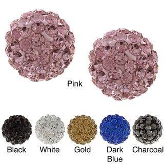 La Preciosa Sterling Silver 10mm Crystal Stud Earrings