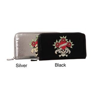 Ed Hardy Skulls and Roses Printed Zip Around Wallet