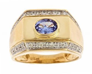 Yach 10K Yellow Gold Mens Tanzanite and Diamond Ring (Size 10