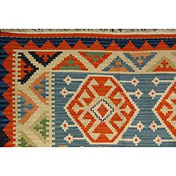 Hand woven Light Blue Qashqai Kilim Rug (81 x 102)