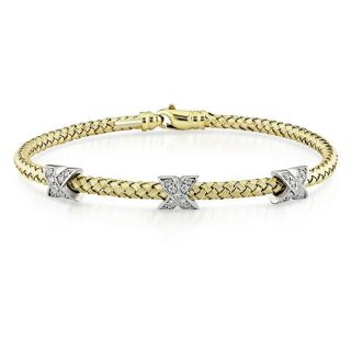 14k Yellow and White Gold 1/3ct TDW Diamond X Bangle (G H, SI1 SI2