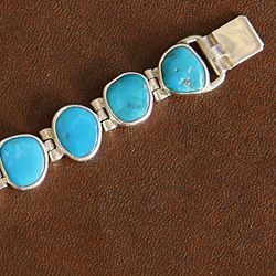 Sterling Silver Turquoise Inlay Tennis Bracelet (Indonesia