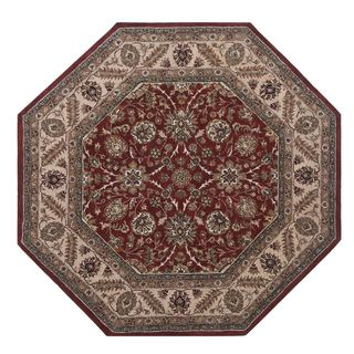 Hand tufted Oriental Deep Red Wool/ Cotton Rug (10 Octagon