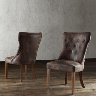 Atelier Traditional French Burnished Brown Oak Dining Chair (Set of 2