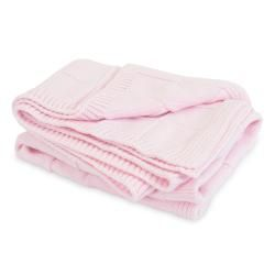 Piccolo Bambino Pink Knitted Cotton Checker Blanket
